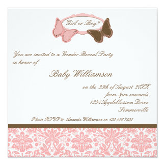 """Gender Reveal Pink & Chocolate Damask Butterflies 5.25"""" Square Invitation Card"""