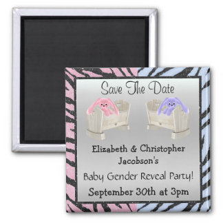 Gender Reveal Save The Date Bunnies & Animal Print Square Magnet