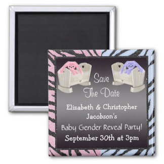 Gender Reveal Save The Date Bunnies in Cribs Magnet