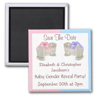 Gender Reveal Save The Date Bunnies in Cribs Square Magnet
