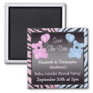 Gender Reveal Save The Date Teddys & Animal Print Square Magnet