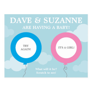 Gender Reveal Scratcher  (not a real scratcher) Postcard