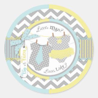 Gender Reveal Tie Tutu Chevron Print Baby Shower Classic Round Sticker