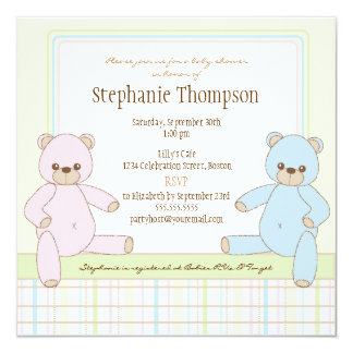 Gender Surprise Teddy Bears Baby Shower Invitation