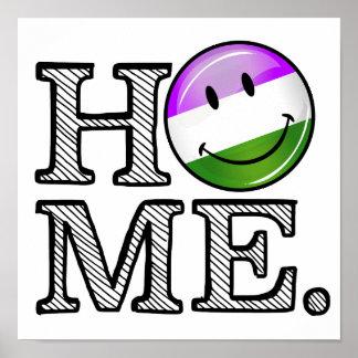 GenderQueer Flag Smiley Housewarming Poster