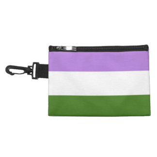 GenderQueer Pride Flag - Green - White - Lilac Accessory Bag