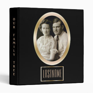 Genealogy Family Tree | Custom Photo Black Gold 3 Ring Binders