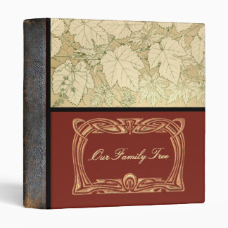 Genealogy | Family Tree Leaves Leather Look Spine 3 Ring Binders