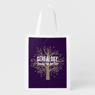 Genealogy Reusable Grocery Bag (Purple)