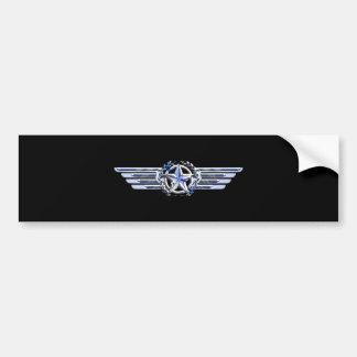 General Air Pilot Chrome Like Star Wings Black Bumper Sticker