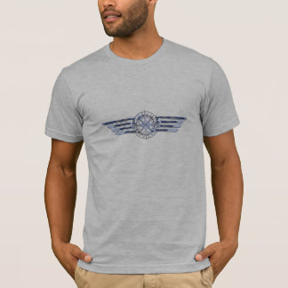 General Air Pilot Chrome Like Wings Compass T-Shirt
