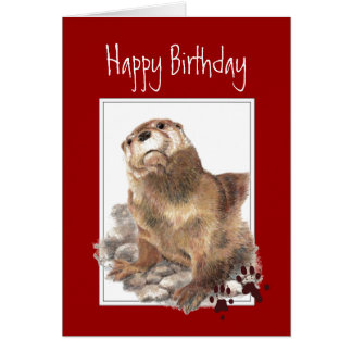 General Birthday, Cute Otter, Funny Animal Card