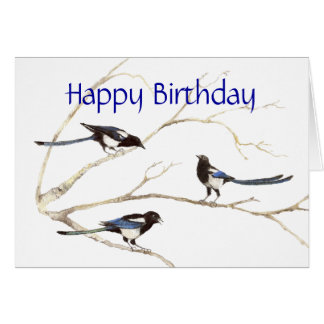 General Birthday, Magpie Birds Card