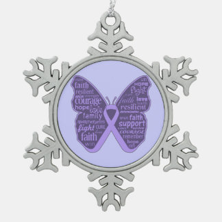 General Cancer Butterfly Words of Hope Ornaments