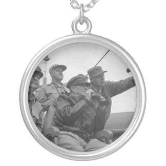 General Douglas MacArthur Shelling of Inchon Silver Plated Necklace