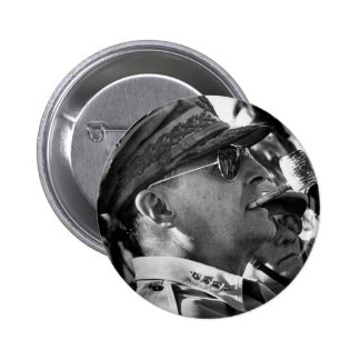 General Douglas MacArthur with Corncob Pipe 2 Inch Round Button