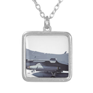 General_Dynamics_F-16C_Fighting_Falcon_(401),_USA_ Silver Plated Necklace