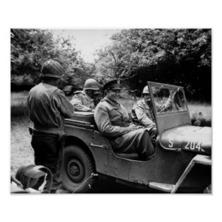 General Eisenhower In A Jeep -- WWII Poster