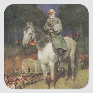General Lee on his Famous Charger, 'Traveller' Square Sticker