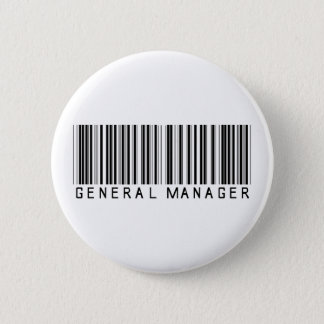 General Manager Bar Code 2 Inch Round Button