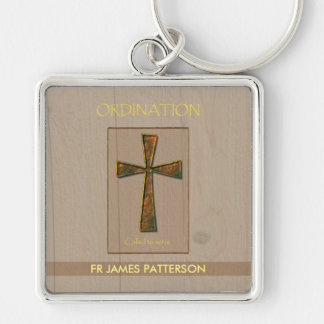 General Ordination Congratulations, Metal Design C Silver-Colored Square Keychain