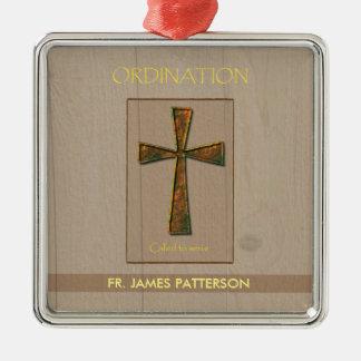 General Ordination Congratulations, Metal Design C Silver-Colored Square Ornament