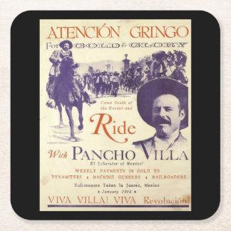 General Pancho Villa Mexican Hero Square Paper Coaster