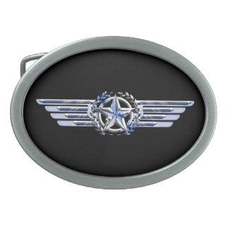 General Private Air Pilot Chrome Like Wings Oval Belt Buckle