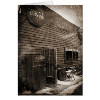 General Store Tintype style aged photograph card