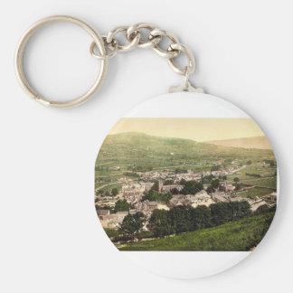 General view, Castleton, Derbyshire, England class Basic Round Button Keychain