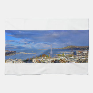 general view of geneva the city and sky blue kitchen towel