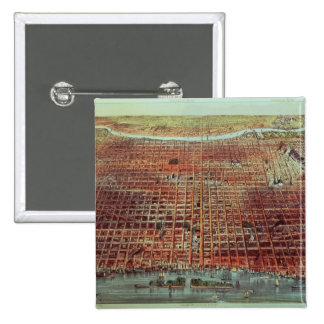 General View of Philadelphia, 1875 2 Inch Square Button