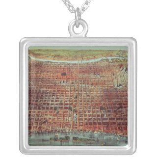 General View of Philadelphia, 1875 Silver Plated Necklace