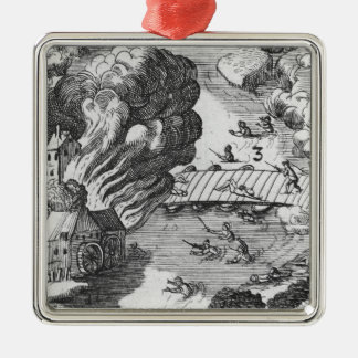 General view of the battle of Muhlberg Silver-Colored Square Ornament