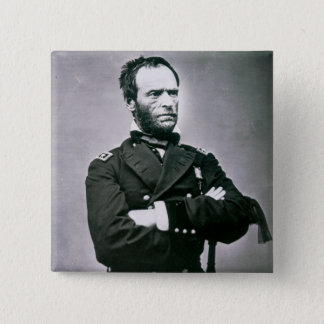 General William T. Sherman (1820-91) (b/w photo) 2 Inch Square Button
