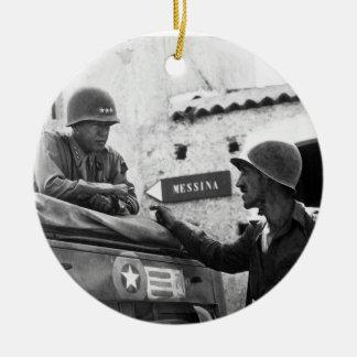 Generaly George S. Patton and Colonel Lyle Bernard Round Ceramic Ornament