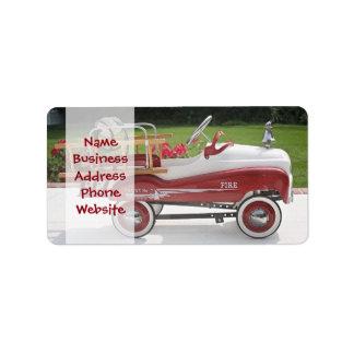 Generic Childs Metal Pedal Car Firetruck Car Label