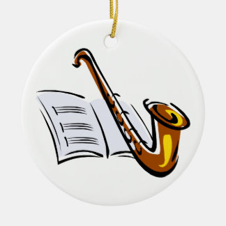 Generic saxophone with sheet music graphic image ceramic ornament