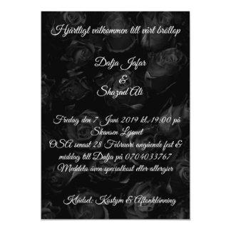 Generous black flowery bröllopsinbjudning card