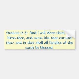 Genesis 12:3 Bumper Sticker