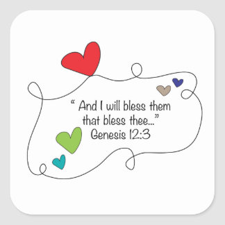 Genesis 12:3 Christian Bible Quote Heart Blessing Square Sticker