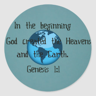 Genesis 1:1 classic round sticker