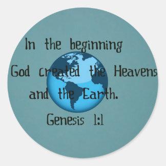 Genesis 1:1 round sticker