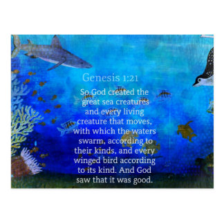 Genesis 1:21 Nature themed Bible Verses about SEA Postcard