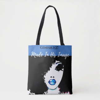 Genesis 1:27 Blue, White & Black Tote