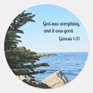 Genesis 1:31 round sticker