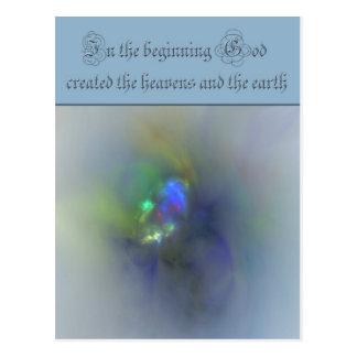 Genesis 1 In the beginning God created the heavens Postcard