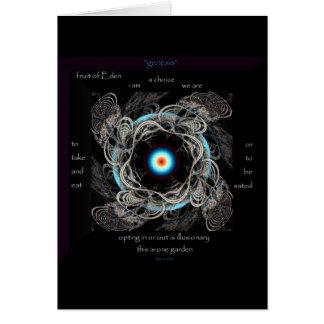 """""""genesis"""" blank art note card / poem & fractal"""