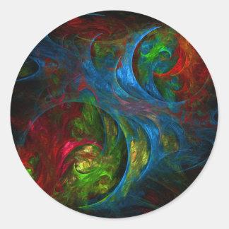 Genesis Blue Abstract Art Round Sticker