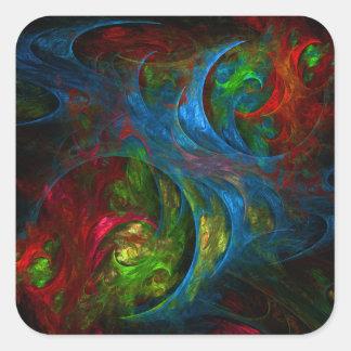Genesis Blue Abstract Art Square Sticker